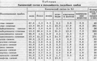Таблица калорийности — грибы
