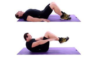 Подъем корпуса к коленям лежа