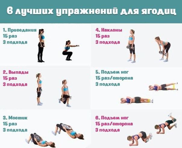 комплекс упражнений для ног и ягодиц в домашних условиях